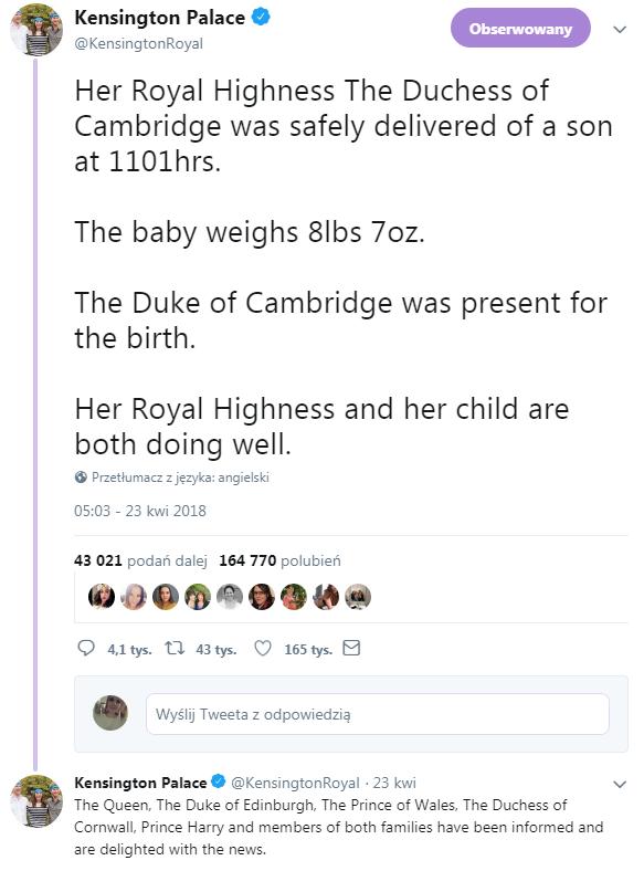 Szczegóły narodzin księcia Louisa